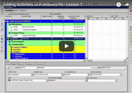 YouTube Lesson 8: Intro to P6 Project Layouts